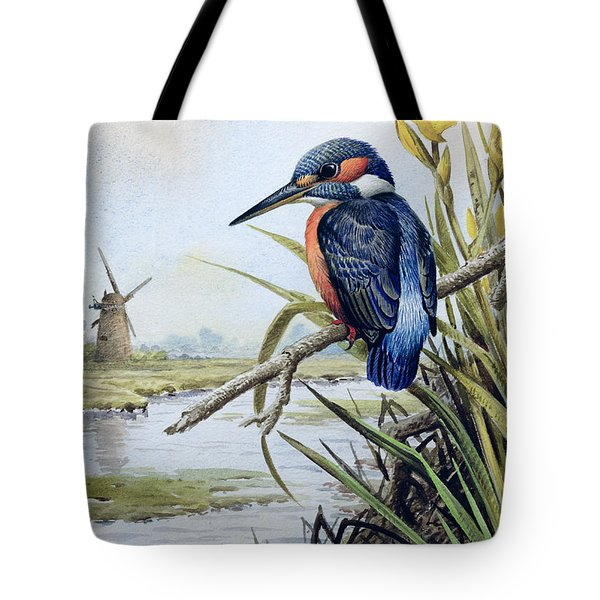 Kingfisher With Flag Iris And Windmill Tote Bag by Carl Donner