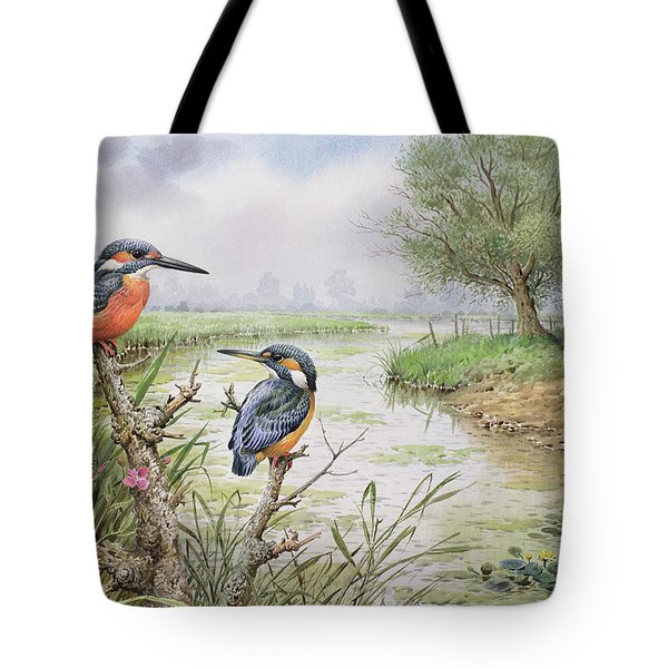 Kingfishers On The Riverbank Tote Bag