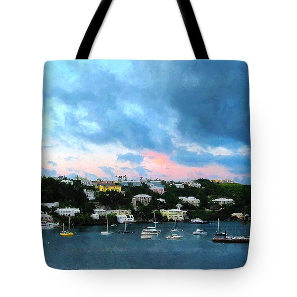 Tote Bag featuring the photograph King's Wharf Bermuda Harbor Sunrise by Susan Savad