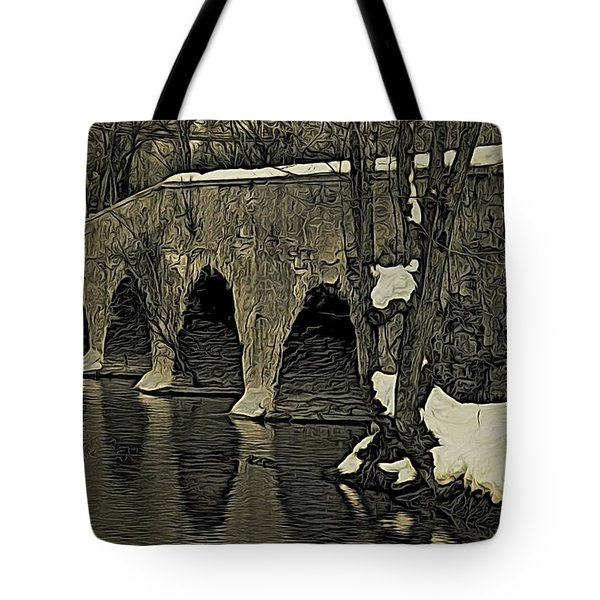 Kingston Bridge Woodprint Tote Bag