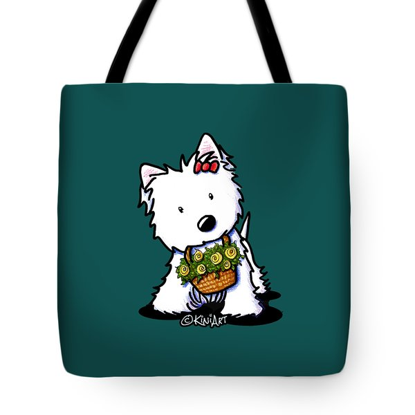 Kiniart Flower Basket Westie Tote Bag