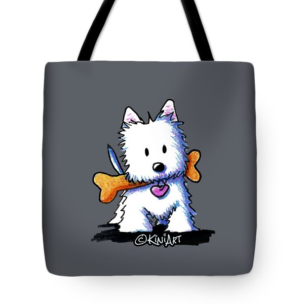 Kiniart Westie With Bone Tote Bag