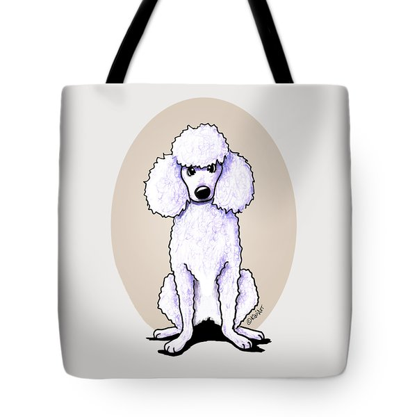 Kiniart White Poodle Tote Bag by Kim Niles