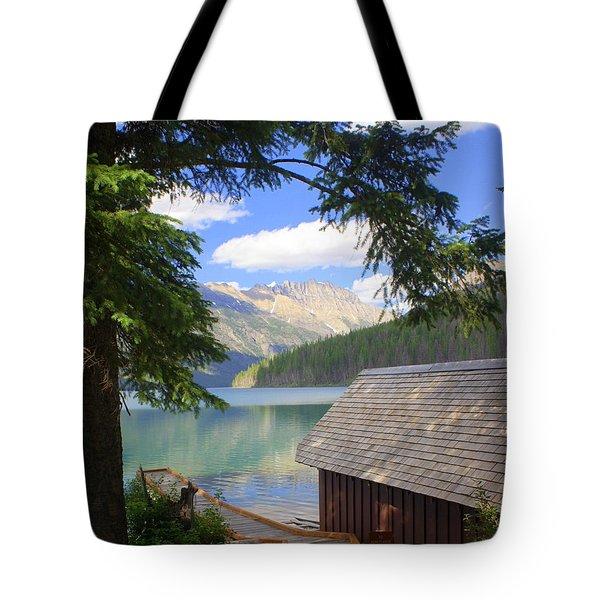 Kintla Lake Ranger Station Glacier National Park Tote Bag by Marty Koch