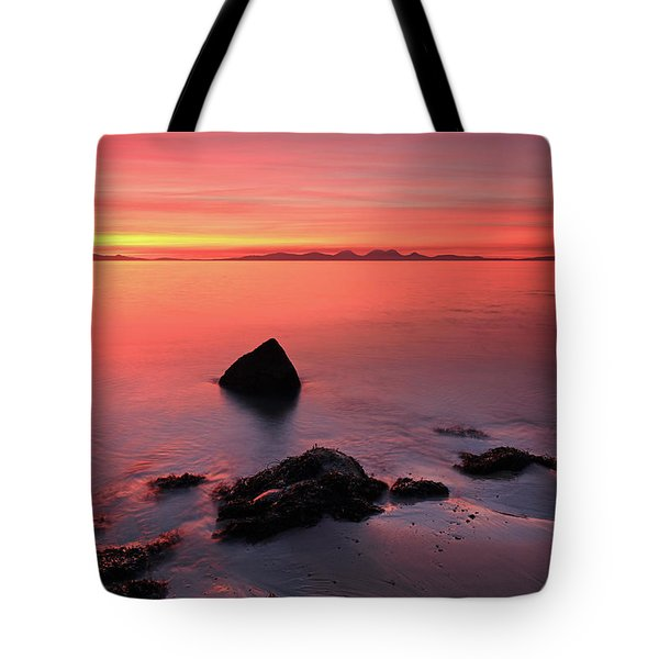 Tote Bag featuring the photograph Kintyre Rocky Sunset 2 by Grant Glendinning