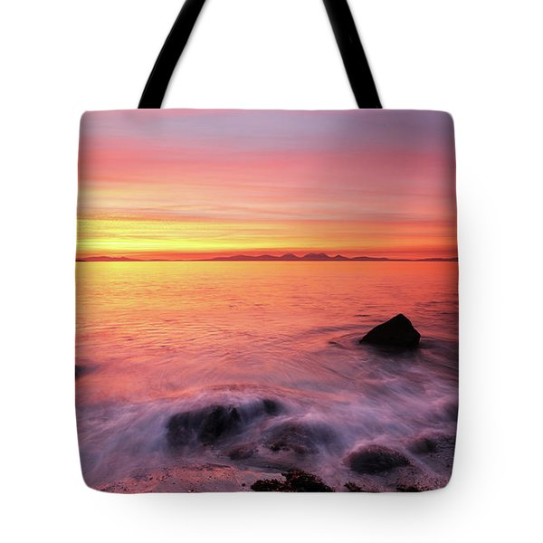Kintyre Rocky Sunset 3 Tote Bag by Grant Glendinning
