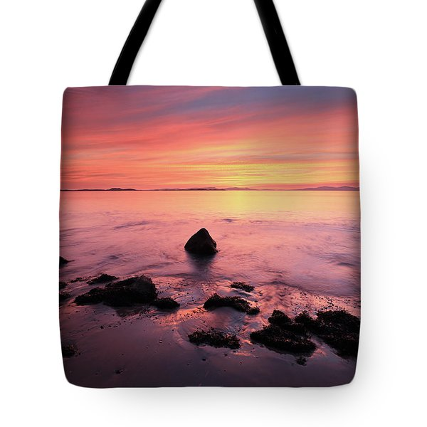Tote Bag featuring the photograph Kintyre Rocky Sunset by Grant Glendinning