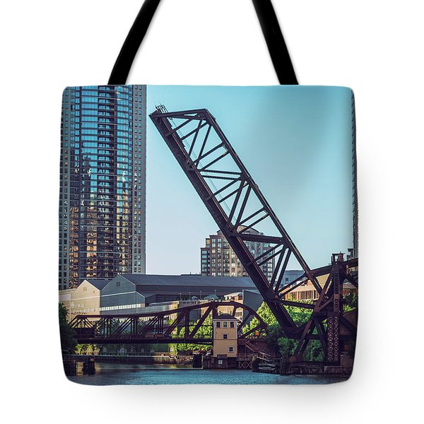 Kinzie Bridge And Rail Bridge Tote Bag