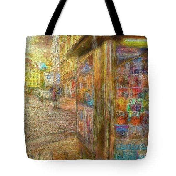 Kiosk - Prague Street Scene Tote Bag