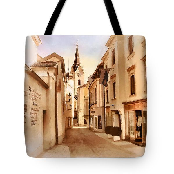 Kirchengasse In Ybbs Mit Loeb Geschaeft Tote Bag by Menega Sabidussi