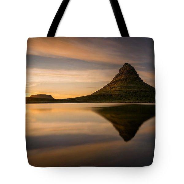Kirkjufell Reflection Tote Bag by Swen Stroop