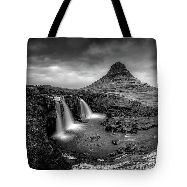Kirkjufellsfoss Dawn Monochrome  Tote Bag