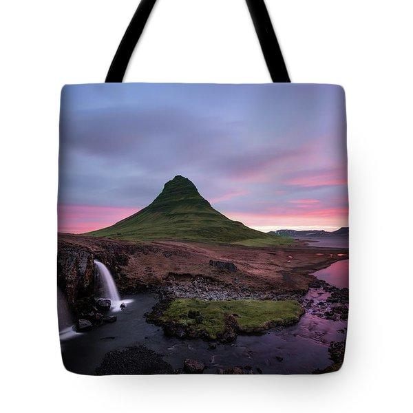 Kirkjufellsfoss Waterfalls Iceland Portrait Version Tote Bag