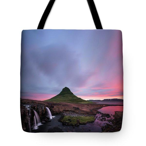 Kirkjufellsfoss Waterfalls Iceland Square Version Tote Bag