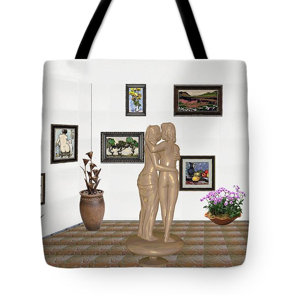 Tote Bag featuring the mixed media Kiss 3 by Pemaro