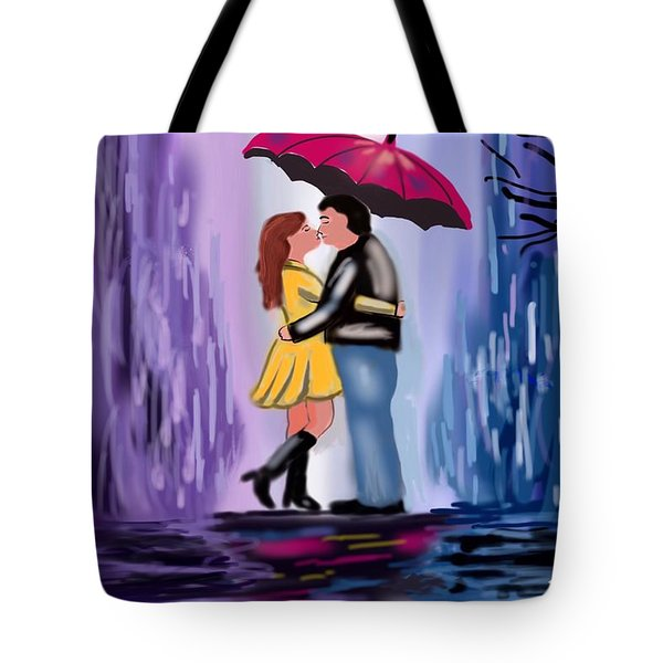 Tote Bag featuring the digital art Kiss In The Rain by Diana Riukas