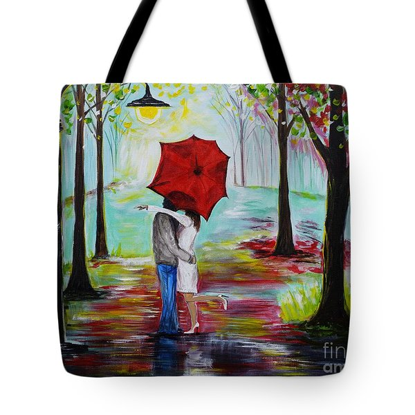 Kiss Me In The Rain Tote Bag by Leslie Allen