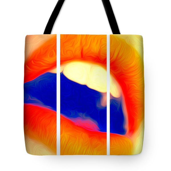 Tote Bag featuring the photograph Kiss Me-triptych by JD Mims