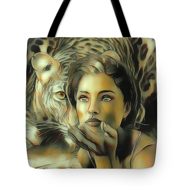Kiss Of The Leopard Woman Tote Bag