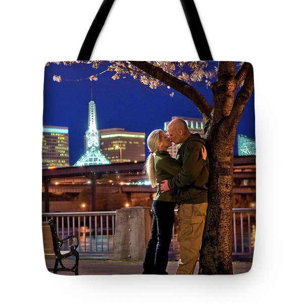Kiss Under The Cherry Tree - Vertical Tote Bag