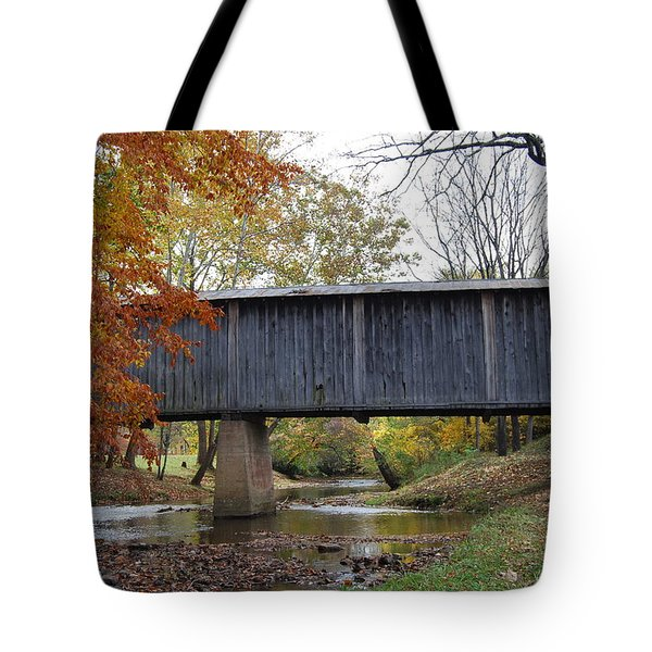 Tote Bag featuring the photograph Kissing Bridge At Fall by Eric Liller