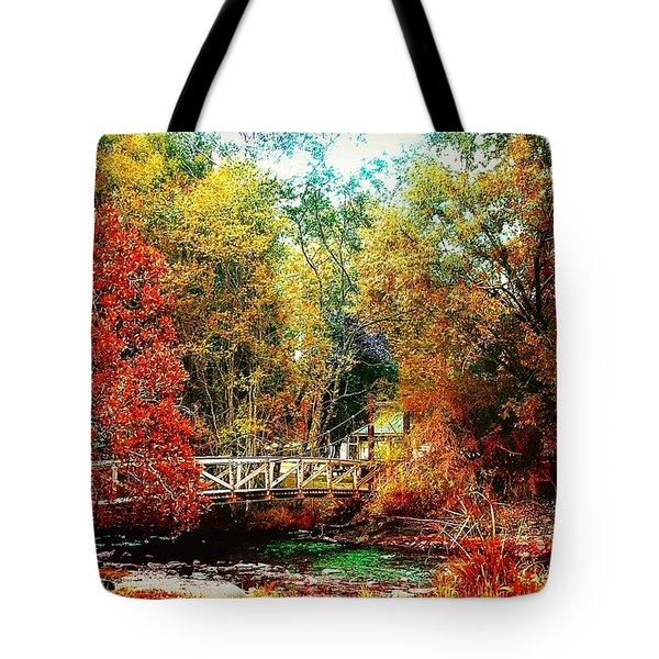 Kissing Bridge Tote Bag