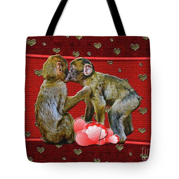 Kissing Chimpanzees Hearts Tote Bag