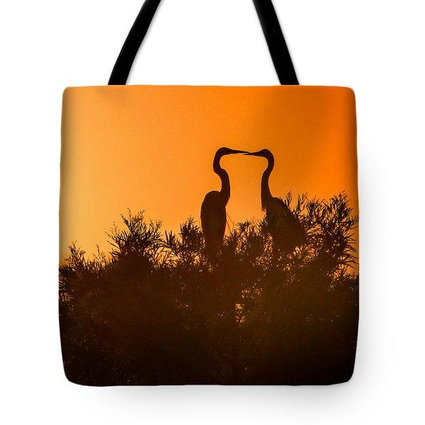 Kissing Herons  Tote Bag