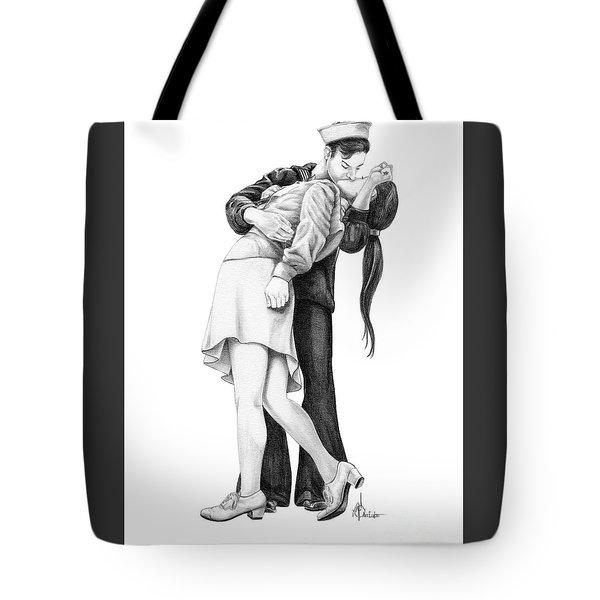 Kissing Sailor Tote Bag by Murphy Elliott