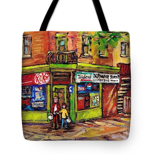 Kit Kat Corner Store Paintings St Henri Depanneur Best Canadian Original Art For Sale Montreal Scene Tote Bag