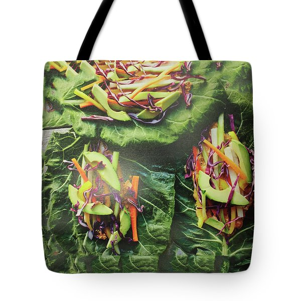 Tote Bag featuring the painting Kitchen Art Chopped Veggie Salad Chef Cuisine Christmas Holidays Birthday Mom Dad Fastfood Food by Navin Joshi