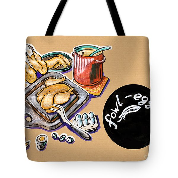 Kitchen Illustration Of Menu Of Fowl  Products  Tote Bag