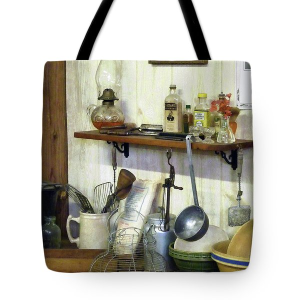 Kitchen With Wire Basket Of Eggs Tote Bag by Susan Savad