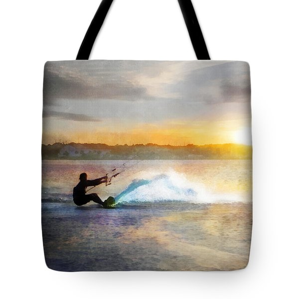 Kite Boarding At Sunset Tote Bag by Francesa Miller