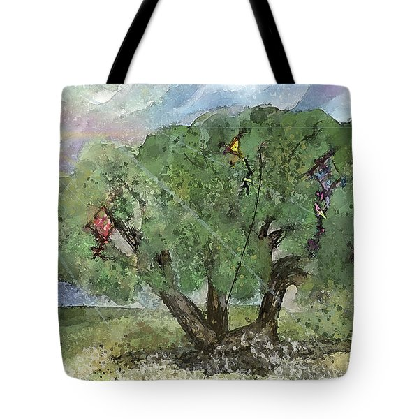 Kite Eating Tree Tote Bag by Annette Berglund