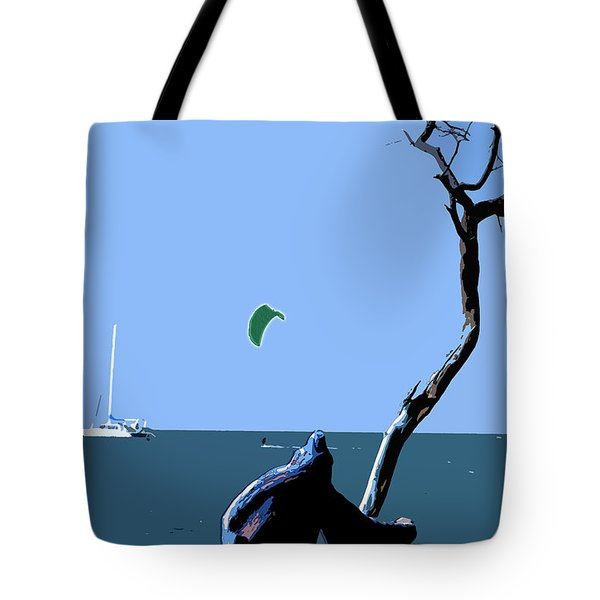 Tote Bag featuring the digital art Kite Skiing At The Beach by Karen Nicholson