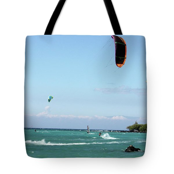 Kite Surfers And Maui Tote Bag by Karen Nicholson