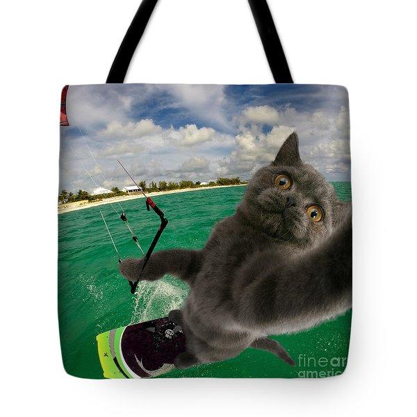 Kite Surfing Cat Selfie Tote Bag