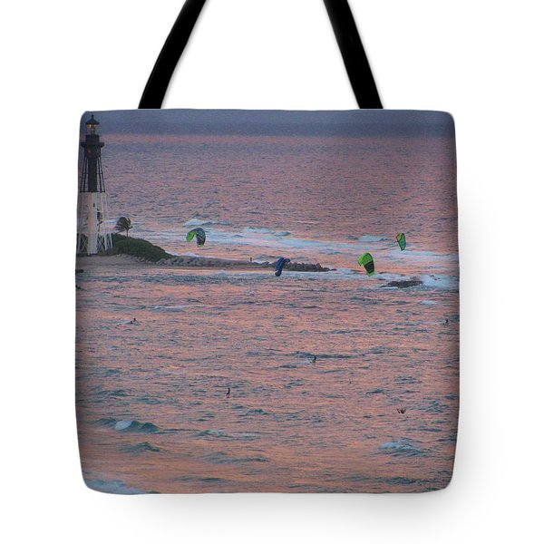Kiteboarding At Hillsboro Tote Bag