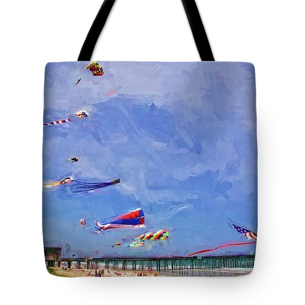 Kites At The Flagler Beach Pier Tote Bag