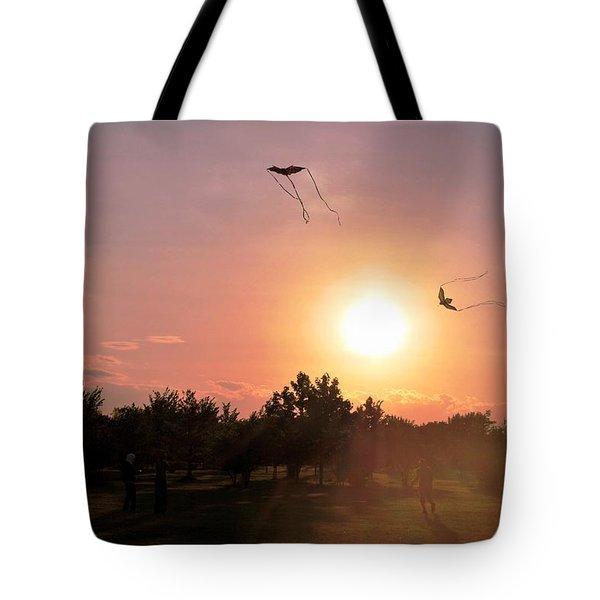 Kites Flying In Park Tote Bag by Matt Harang