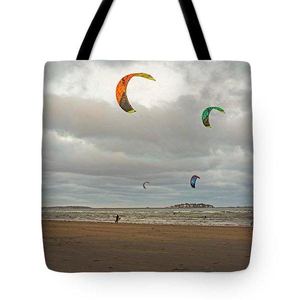 Kitesurfing On Revere Beach Tote Bag