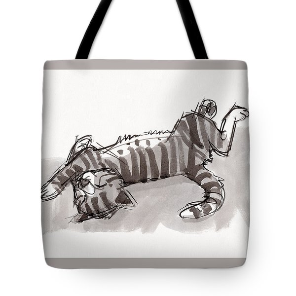 Tote Bag featuring the painting Happy Kitty by Judith Kunzle