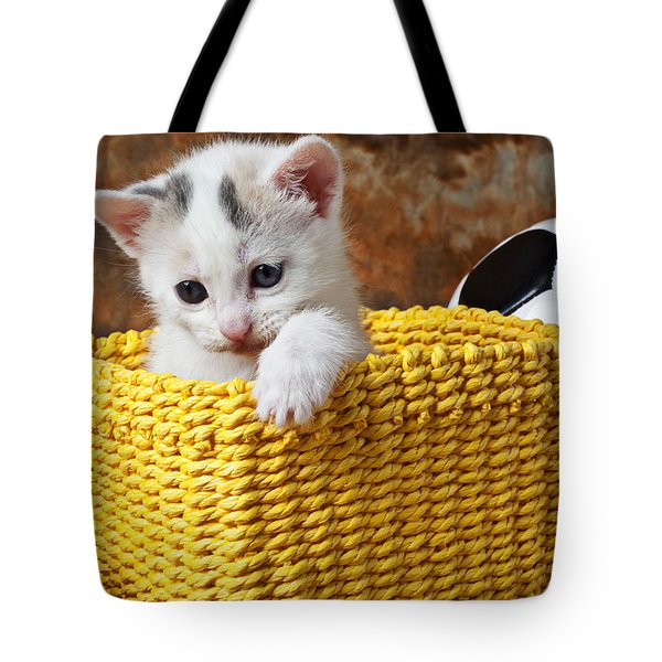 Kitten In Yellow Basket Tote Bag by Garry Gay