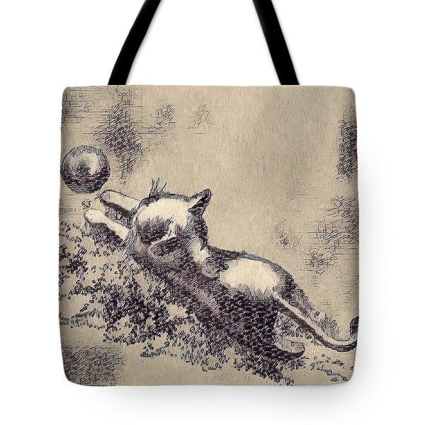 Kitten Playing With Ball Tote Bag