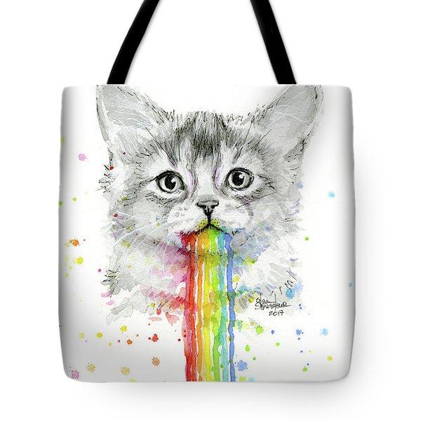 Kitten Puking Rainbows Tote Bag