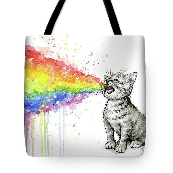 Kitten Tastes The Rainbow Tote Bag