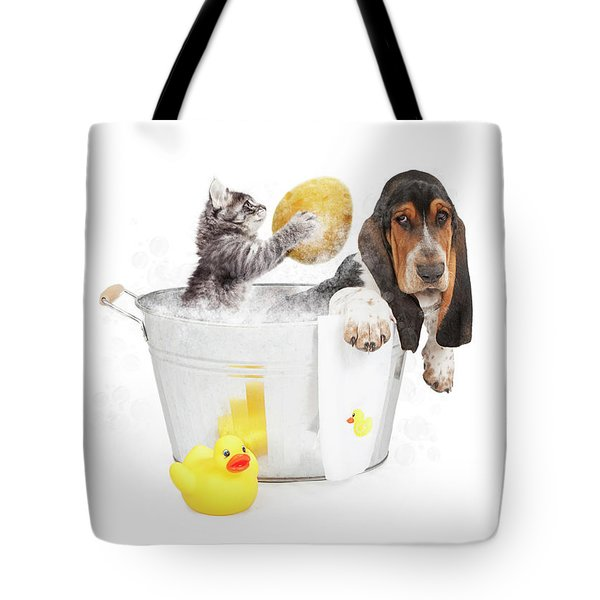 Kitten Washing Basset Hound In Tub Tote Bag