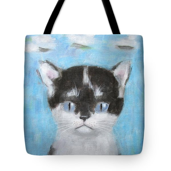 Kitten With Three Clouds Tote Bag