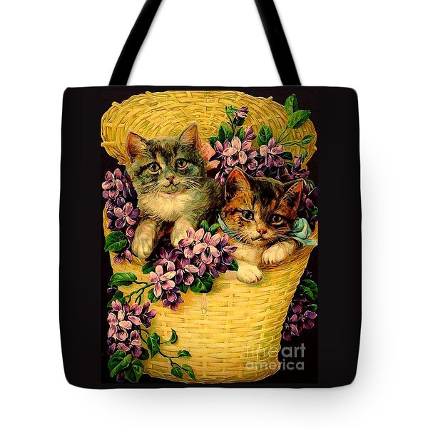 Kittens With Violets Victorian Print Tote Bag